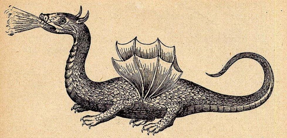 Ο Δράκος της Ρόδου, όπως απεικονίστηκε από τον Γερμανό Ιησουίτη ιερέα Athanasius Kircher (1602 - 1680)