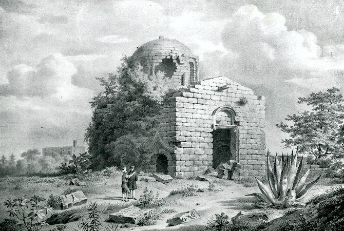 Η βυζαντινή εκκλησία του Αγίου Στεφάνου στον λόφο του Αγίου Στεφάνου ή Μόντε Σμιθ στη Ρόδο (γκραβούρα του 1828)