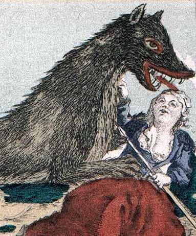 Πίνακας εποχής, στον οποίο απεικονίζεται το Θηρίο να επιτίθεται σε χωρική