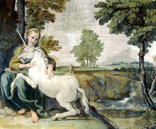 Κορίτσι με Μονόκερω, φρέσκο του Ιταλού ζωγράφου Domenico Zampieri (21/10/1581 - 04/04/1641)