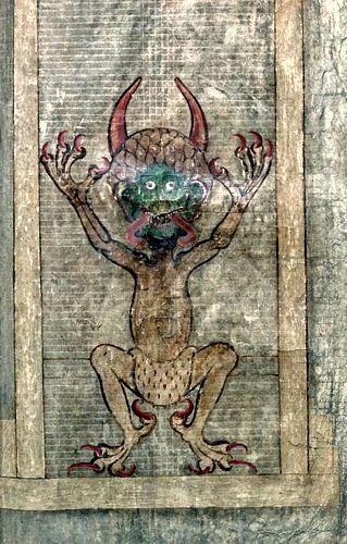 Η σελίδα του μυστηριώδους βιβλίου, στην οποία απεικονίζεται η μορφή του Διαβόλου