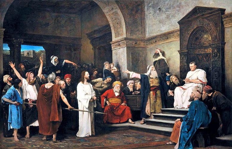Ο Ιησούς ενώπιον του Πόντιου Πιλάτου, πίνακας του Ούγγρου ζωγράφου Mihaly Munkacsy (20/02/1844 - 01/05/1900)