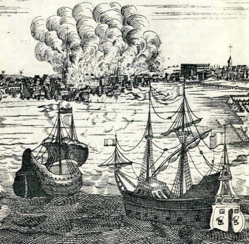 Η μεγάλη πυρκαγιά της Στοκχόλμης, το 1751 (γκραβούρα εποχής)