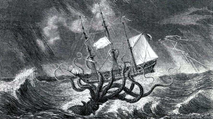 Γκραβούρα του 1870, στην οποία απεικονίζεται το θρυλικό Κράκεν