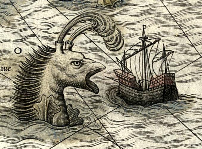 """Απεικόνιση θαλάσσιου τέρατος, από τον περίφημο χάρτη του Olaus Magnus, """"Carta Marina"""""""