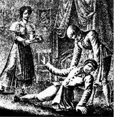 Η δολοφονία του πατέρα της Margarethe Timm από την ίδια (λιθογραφία του 1831)