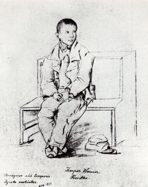 Ο Kaspar Hauser, περιμένοντας στο αστυνομικό τμήμα (γκραβούρα εποχής)