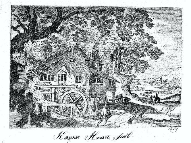 Σκίτσο με μολύβι του Kaspar Hauser (1829)