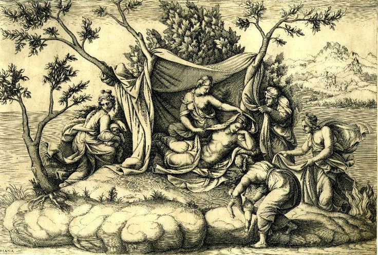 Η γέννηση του Απόλλωνα και της Άρτεμης, χαλκογραφία της Ιταλίδας γλύπτριας Diana Scultori (1547 - 1612)