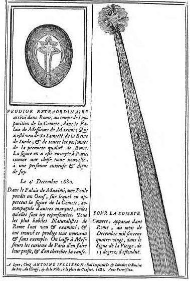 Ο Κομήτης του 1680 και το μυστηριώδες αυγό, όπως αποτυπώθηκαν σε φυλλάδιο της εποχής
