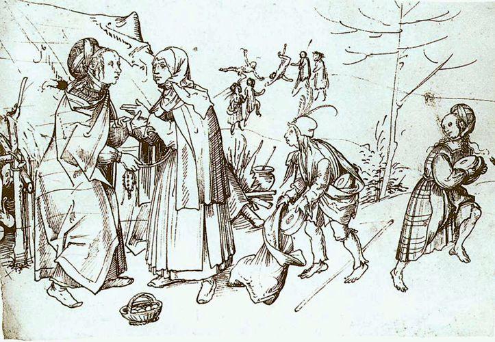 """""""Τσιγγάνοι στην αγορά"""", πίνακας του Γερμανού ζωγράφου Hans Burgkmair (1473 - 1531)"""