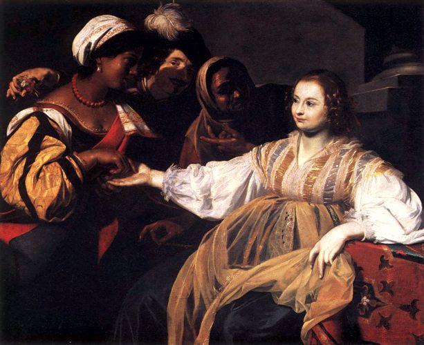 """""""Η χειρομάντισσα"""", πίνακας του Φλαμανδού ζωγράφου Nicolas Regnier (1591 - 1667)"""
