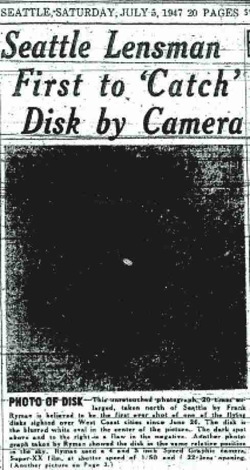 Φωτογραφία ιπτάμενου αντικειμένου πάνω από το Lake City, στις 5 Ιουλίου του 1947
