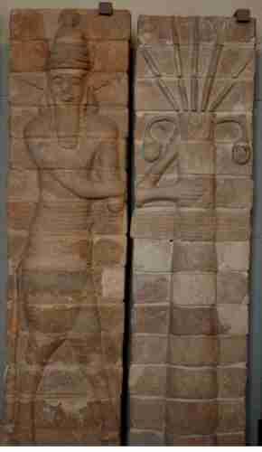 Άνθρωπος-ταύρος που προστατεύει ένα φοινικόδεντρο. Εξωτερική διακόσμηση από τούβλο, στον Ναό του Inshushinak, Σούσα (12ος αιώνας π.Χ.)