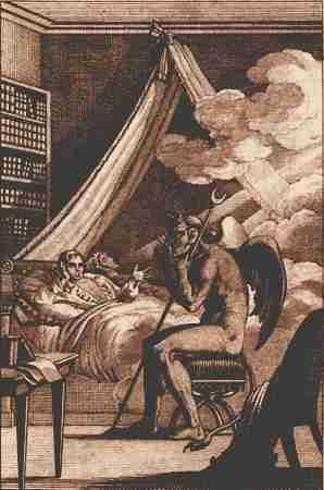 Ο Jacques Collin de Plancy, συνομιλώντας με τον Διάβολο, γκραβούρα του 1825