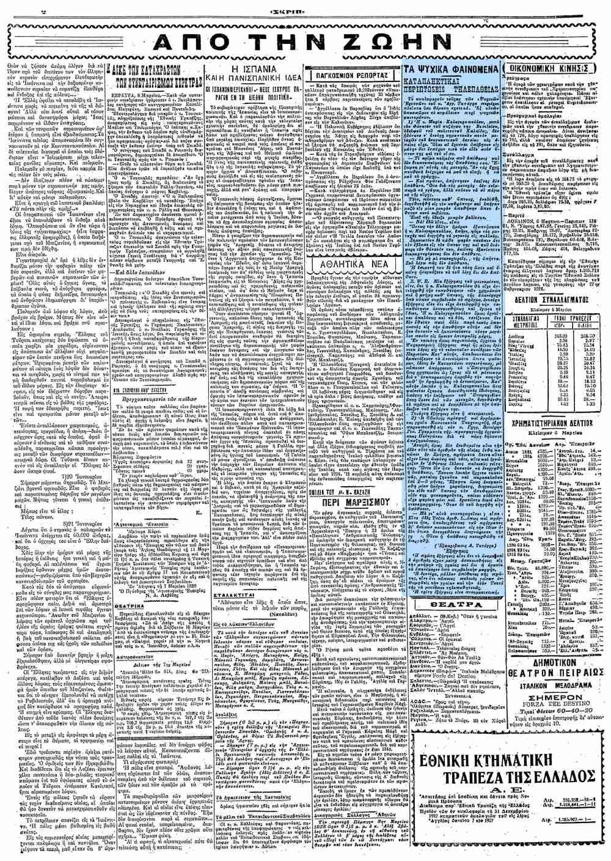 """Το άρθρο, όπως δημοσιεύθηκε στην εφημερίδα """"ΣΚΡΙΠ"""", στις 07/03/1928"""