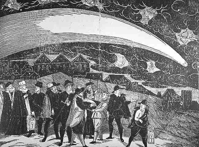 Ο Μεγάλος Κομήτης του 1577, όπως εθεάθη πάνω από την Πράγα, στις 12 Νοεμβρίου εκείνου του έτους