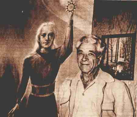 Ο Τζορτζ Αντάμσκι ποζάροντας μπροστά σε πίνακα που απεικονίζει τον παράξενο επισκέπτη από τον πλανήτη Αφροδίτη