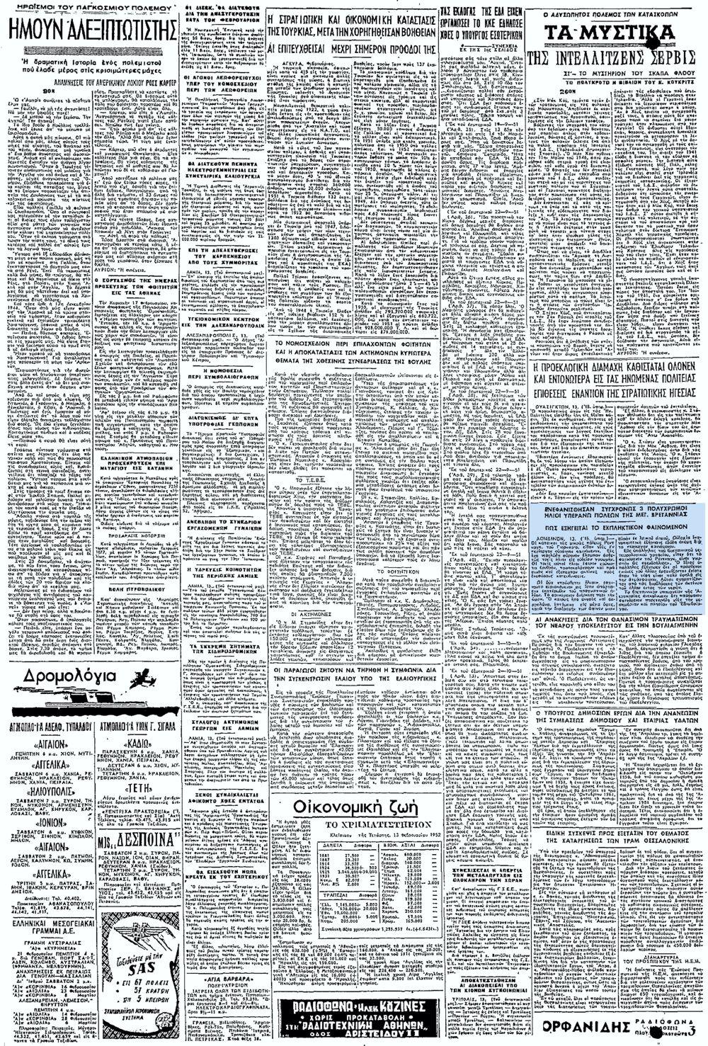 """Το άρθρο, όπως δημοσιεύθηκε στην εφημερίδα """"ΕΛΕΥΘΕΡΙΑ"""", στις 14/02/1952"""