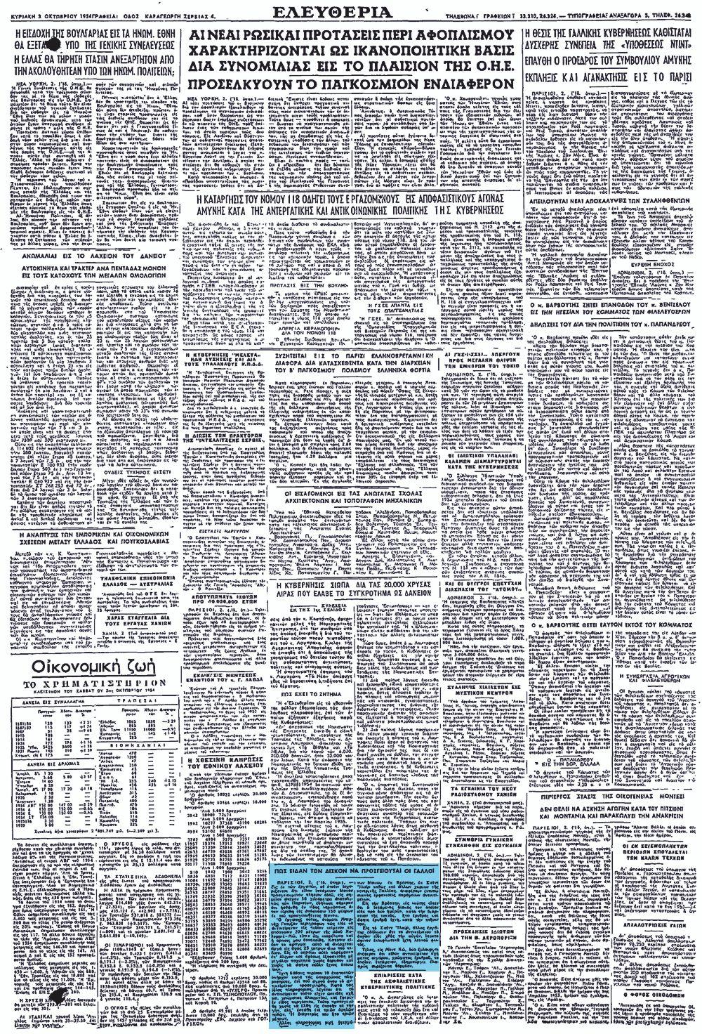 """Το άρθρο, όπως δημοσιεύθηκε στην εφημερίδα """"ΕΛΕΥΘΕΡΙΑ"""", στις 03/10/1954"""
