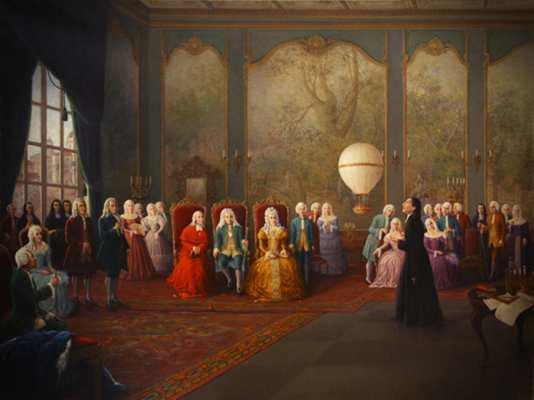 Ο Bartolomeu de Gusmao, παρουσιάζοντας την εφεύρεσή του στην Αυλή του Βασιλιά της Πορτογαλίας, Ιωάννη Ε'