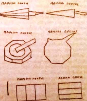 Τα σχέδια που χρησιμοποιήθηκαν στα πειράματα Τηλεπάθειας, ανάμεσα στην Αθήνα και το Παρίσι