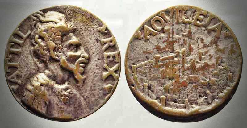 """Το νόμισμα, με την επιγραφή """"ATTILA REX"""""""