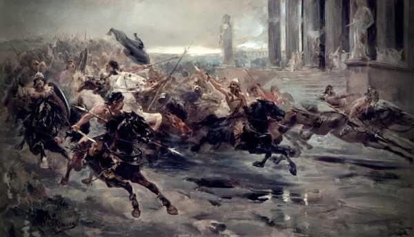 Οι Ούννοι, οδηγούμενοι από τον Αττίλα, επιδράμοντας στην Ιταλία. Πίνακας του Ulpiano Checa (1887)