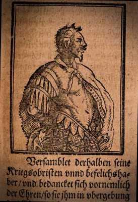 """Απεικόνιση του Αττίλα από το βιβλίο """"Chronicon Pictum"""" του Γερμανού συγγραφέα Wilhelm Dilich, 17ος αιώνας"""