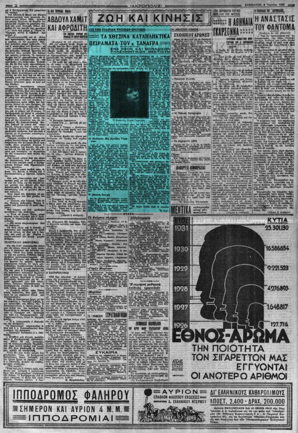"""Το άρθρο, όπως δημοσιεύθηκε στην εφημερίδα """"ΑΚΡΟΠΟΛΙΣ"""", στις 04/06/1932"""