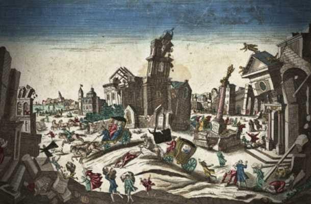 Γκραβούρα εποχής, που απεικονίζει τον σεισμό του 1783 στη Νότια Ιταλία