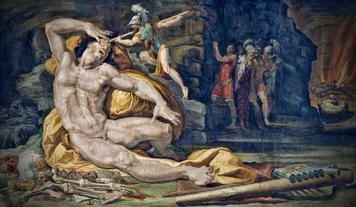 """""""Η Τύφλωση του Πολύφημου"""", πίνακας του Ιταλού ζωγράφου Pellegrino Tibaldi (1527 - 1596)"""