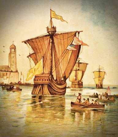 Η αναχώρηση του στόλου του Κολόμβου από την Ισπανία, το 1492