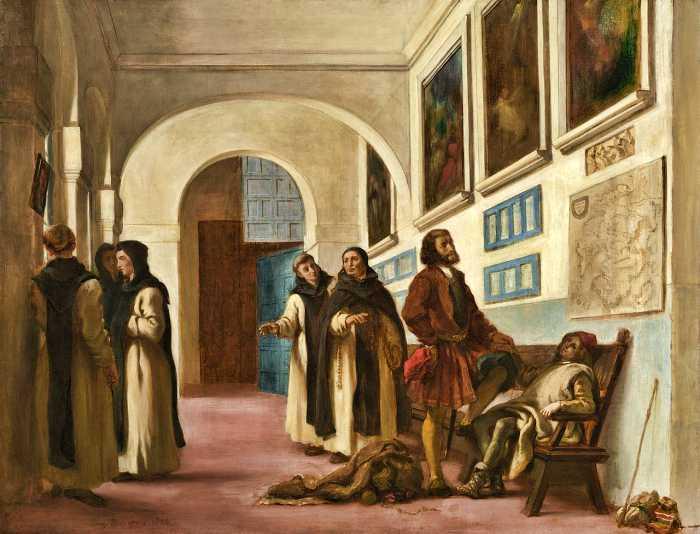 Ο Χριστόφορος Κολόμβος και ο γιος του, ζητώντας άσυλο στο Μοναστήρι της Rabida (πίνακας του Eugene Delacroix, 1838)