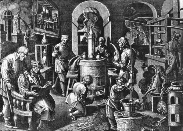 Εργαστήριο αλχημιστών, γκραβούρα 16ου αιώνα