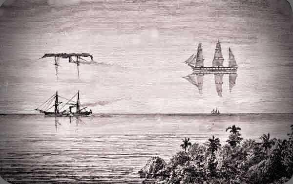 Γκραβούρα εποχής, που δείχνει το φαινόμενο του αντικατοπτρισμού δύο πλοίων