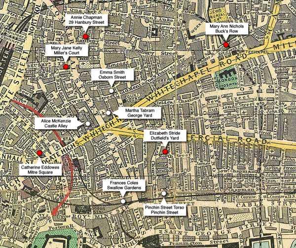 Χάρτης του Whitechapel, όπου σημειώνονται οι τοποθεσίες και τα ονόματα των δολοφονημένων γυναικών από τον Τζακ τον Αντεροβγάλτη