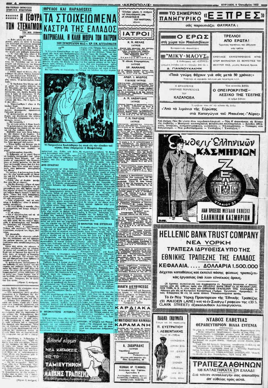 """Το άρθρο, όπως δημοσιεύθηκε στην εφημερίδα """"ΑΚΡΟΠΟΛΙΣ"""", στις 09/10/1932"""