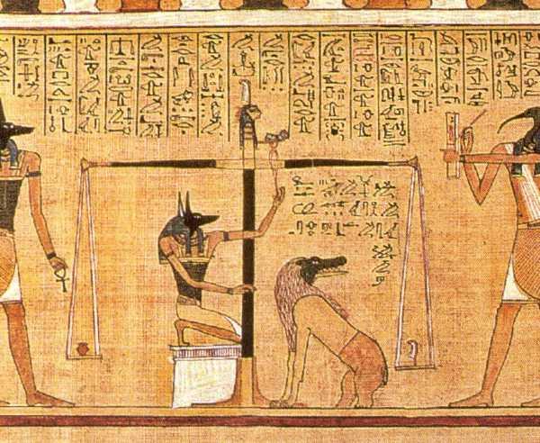 """Εικονογράφηση από τον Πάπυρο του Ουνεφέρ, απόσπασμα από τη """"Βίβλο των Νεκρών"""", περίπου 1375 π.Χ."""