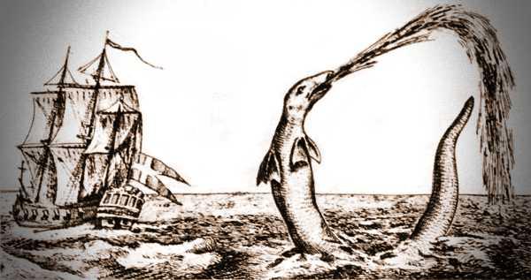 Γκραβούρα εποχής, στην οποία απεικονίζεται το θαλάσσιο ερπετό, που είδε ο Λουθηρανός ιεραπόστολος Hans Egede