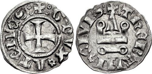 Νομίσματα της εποχής του Guy II de la Roche, που κυκλοφόρησαν στη Θήβα