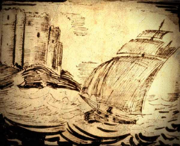 Το βενετσιάνικο καράβι, με τον φρούραρχο του Μπούρτζι, Giordano Aquilio και την Ελληνίδα αρχοντοπούλα, φτάνει στο κάστρο...