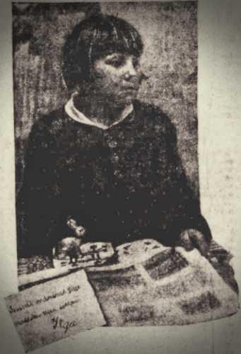 Η εντεκάχρονη Ilga Kirps, ενώ κάτω αριστερά διακρίνεται ο γραφικός χαρακτήρας της