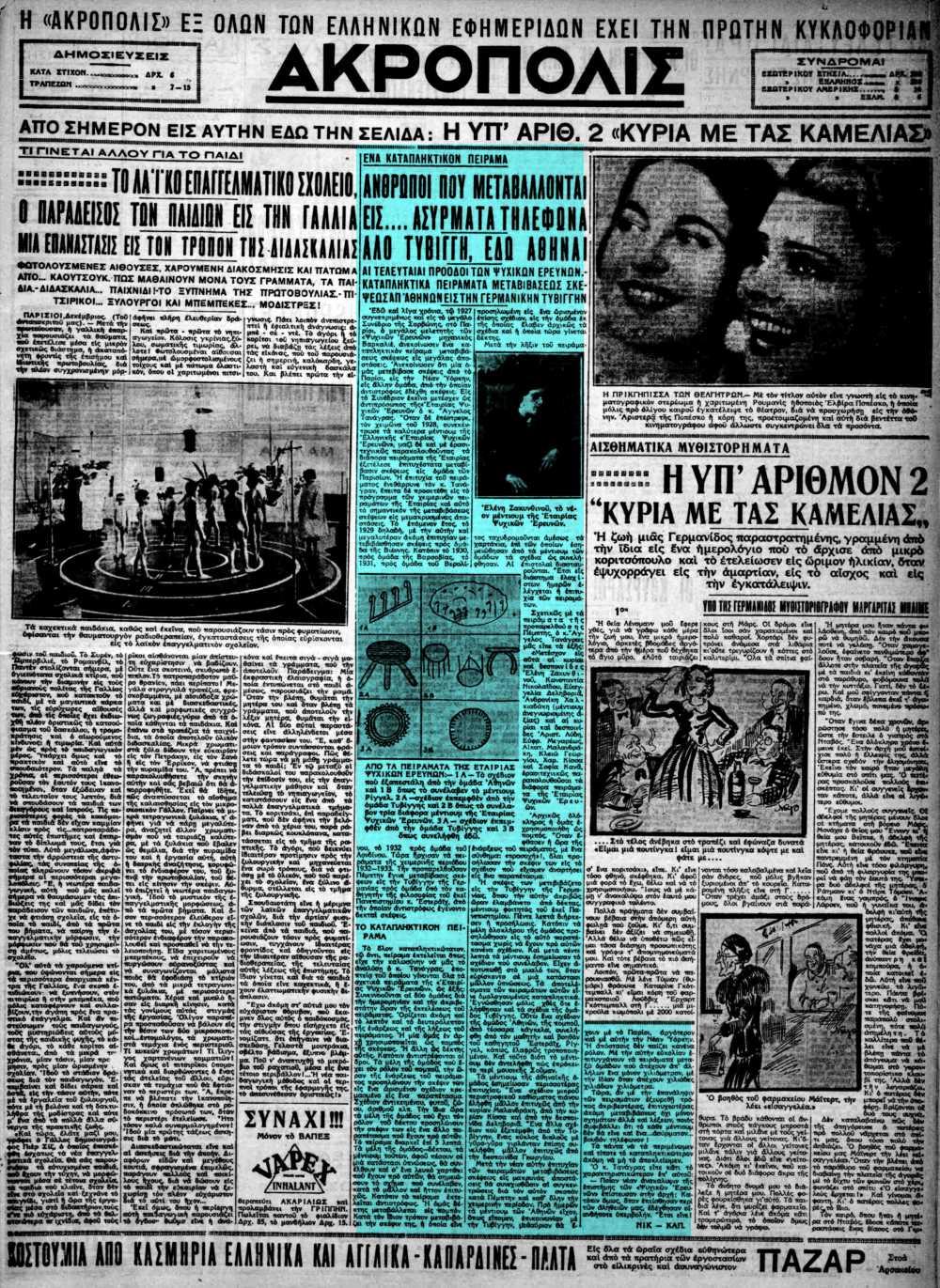 """Το άρθρο, όπως δημοσιεύθηκε στην εφημερίδα """"ΑΚΡΟΠΟΛΙΣ"""", στις 27/12/1932"""