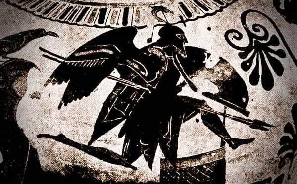 Το φάντασμα του Πάτροκλου που πετά πάνω από τα ελληνικά πλοία στην Τροία (παράσταση από αρχαίο ελληνικό αγγείο)