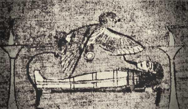 Η ψυχή του νεκρού, λαμβάνοντας μορφή γερακιού, με κεφαλή ανθρώπου, επισκέπτεται τη μούμια του πρώην κατόχου της (Βρετανικό Μουσείο)