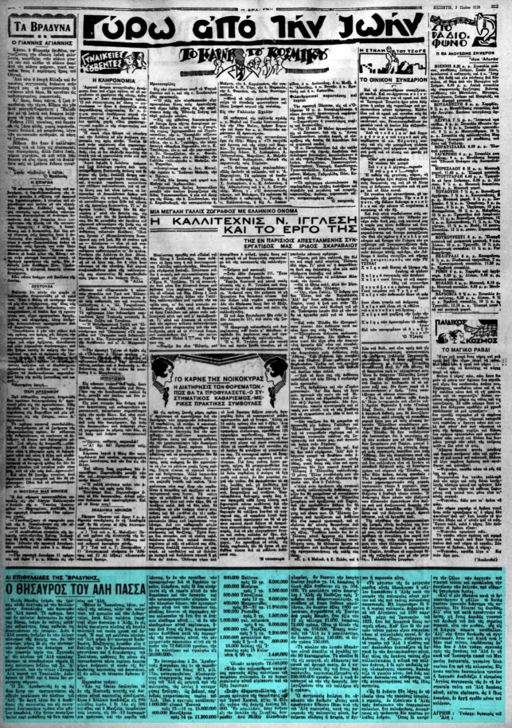 """Το άρθρο, όπως δημοσιεύθηκε στην εφημερίδα """"Η ΒΡΑΔΥΝΗ"""", στις 07/05/1931"""