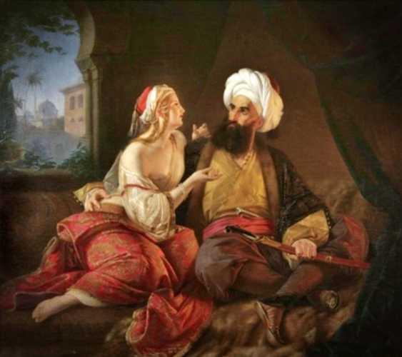 Ο Αλή Πασάς και η Κυρα-Βασιλική, πίνακας του Γερμανού ζωγράφου Paul Emil Jacobs (1802 - 1866)