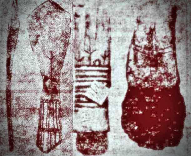 """Κουτάλι από κόκκαλο (αριστερά) και ξύστρα από κόκκαλο (δεξιά). Και τα δύο ευρήματα φέρουν το σύμβολο του """"προσευχόμενου ανθρώπου""""."""