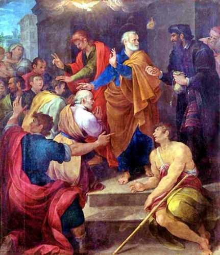 """""""Η διαμάχη του Αποστόλου Πέτρου με τον Μάγο Σίμωνα"""" (ο Σίμων, δεξιά, ντυμένος στα μαύρα), πίνακας του Ιταλού ζωγράφου Avanzino Nucci, 1620"""